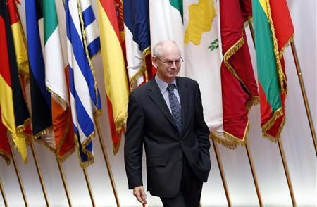 European Council President Herman Van Rompuy arrives for a meeting with Georgia's President Mikheil Saakashvili in Brussels November 14, 2012. REUTERS/Francois Lenoir