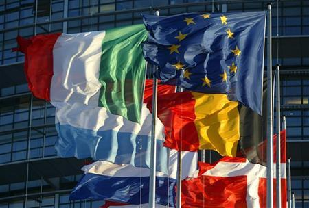 File picture shows European Union member states' flags flying in front of the building of the European Parliament in Strasbourg, April 21, 2004. REUTERS/Vincent Kessler/File