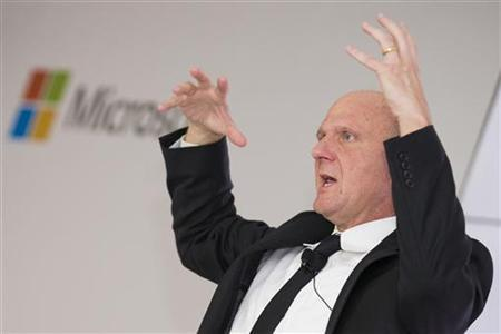 Microsoft CEO Steve Ballmer talks about Microsoft's ''Schlaumaeuse'' (Clever Mice) education software as it is being introduced on the Windows 8 operating system in Berlin November 8, 2012. REUTERS/Thomas Peter