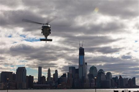 A U.S. Navy H-60 Helicopter lands in Hoboken, New Jersey, in this U.S. Marine Corps handout image dated November 3, 2012. REUTERS/U.S. Marine Corps/Handout