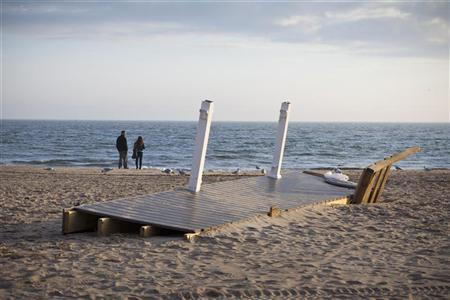 A portion of a house porch remains on Brighton Beach, as a result of Hurricane Sandy, in the Brighton Beach neighborhood of Brooklyn, New York November 12, 2012. REUTERS/Andrew Burton