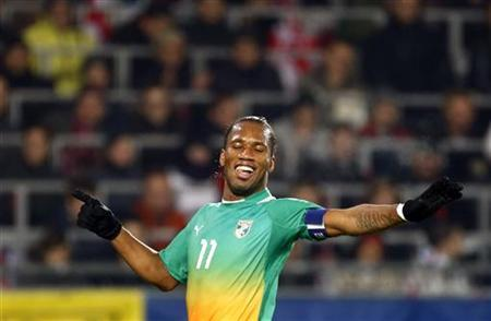 Ivory Coast's Didier Drogba reacts after scoring a goal during the international friendly soccer match against Austria in Linz November 14, 2012. REUTERS/ Dominic Ebenbichler
