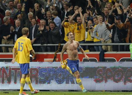 Sweden's Zlatan Ibrahimovic celebrates after scoring his fourth goal against England during their international friendly soccer match at the Friends Arena in Stockholm November 14, 2012. REUTERS/Phil Noble