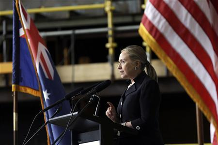 U.S. Secretary of State Hillary Clinton speaks at the Techport Australia shipbuilding facility near Adelaide November 15, 2012. REUTERS/Matt Rourke/Pool