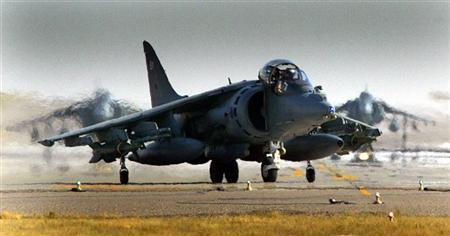 British Harrier G7s taxi in their base in Kuwait prior to their mission over southern Iraq March 18, 2003.