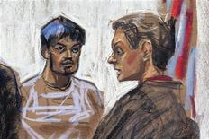 A courtroom sketch shows Quazi Mohammad Rezwanul Ahsan Nafis (L) being arraigned in the United States District Court of the Eastern District of New York October 17, 2012. The Federal Bureau of Investigation on Wednesday arrested the 21-year-old Bangladeshi man on charges he attempted to blow up the New York Federal Reserve Bank with what he believed was a 1,000-pound (453-kg) bomb, a plot thwarted by an undercover sting operation, federal authorities said. REUTERS/Jane Rosenberg