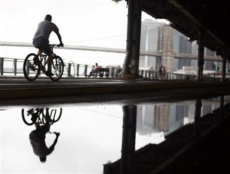 A man rides his bike under the FDR East River Drive in New York July 24, 2008. REUTERS/Shannon Stapleton