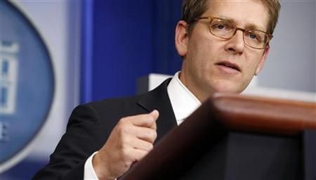 White House Press Secretary Jay Carney answers a question during a media briefing at the White House in Washington November 13, 2012. REUTERS/Kevin Lamarque