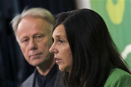 Green Party's Katrin Goering-Eckardt (R) and Juergen Trittin attend a news conference in Berlin after they were announced as their party's top-candidates in next year's general election, November 10, 2012. Members of the Green party elected by direct vote Katrin Goering-Eckardt and Juergen Trittin as top candidates for next year's general election. REUTERS/Thomas Peter (GERMANY - Tags: POLITICS)