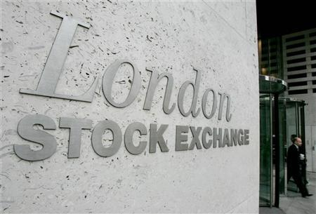 The outside of the London Stock Exchange building is seen in the City of London, March 7, 2005. EUTERS/Toby Melville