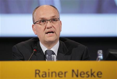 Rainer Neske, chairman of the supervisory board of Deutsche Postbank AG, addresses the media during the annual shareholders meeting in Frankfurt June 5, 2012. REUTERS/Alex Domanski/Files