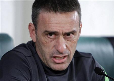 Portugal's soccer coach Paulo Bento speak at a news conference in Moscow October 11, 2012. Portugal face Russia on Friday for their World Cup 2014 Group F qualifier. REUTERS/Maxim Shemetov