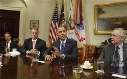 Presidente dos EUA, Barack Obama, realiza reunião bipartidária com líderes do Congresso na Sala Roosevelt, na Casa Branca. 16/11/2012 REUTERS/Larry Downing