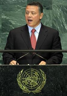 Jordan's King Abdullah speaks during a meeting of the General Assembly on the Culture of Peace at the United Nations in New York November 12, 2008. REUTERS/Shannon Stapleton