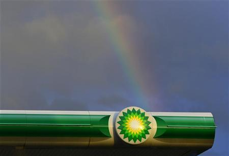 A rainbow is seen behind the logo of a BP fuel station in Barnstaple in south west England October 17, 2012. REUTERS/Toby Melville