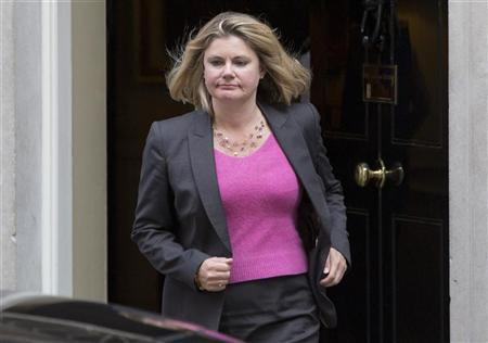 Newly assigned International Development Secretary Justine Greening leaves Downing Street in London, September 4, 2012. REUTERS/Neil Hall