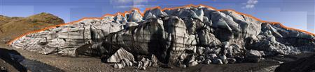 A photograph of the Solheim Glacier in Iceland taken in 2006 by photographer James Balog is pictured in this publicity photograph released to Reuters November 16, 2012. A red line indicates the size of the glacier. A comparison photo taken in 2009 shows the disappearance of most of the glacier. Six years after the documentary ''An Inconvenient Truth,'' a new film ''Chasing Ice'' goes beyond the data and the diagrams to document the disappearance of the world's glaciers with time-lapse photography. REUTERS/Ted Pfeffer/© 2009 Extreme Ice Survey All rights reserved/Handout
