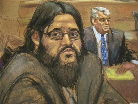 Adis Medunjanin is shown reacting to his guilty verdict in this courtroom sketch in Brooklyn federal court in New York, May 1, 2012. REUTERS/Jane Rosenberg