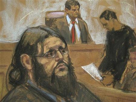 Adis Medunjanin is shown reacting as the verdict is read in this courtroom sketch in Brooklyn federal court in New York, May 1, 2012. REUTERS/Jane Rosenberg