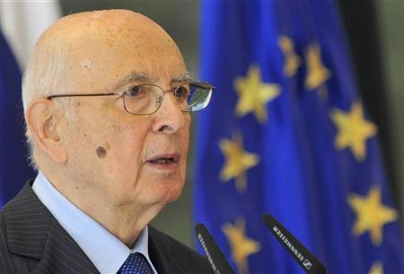 Italy's President Giorgio Napolitano speaks at a news conference during his visit in Brdo near Kranj July 10, 2012. REUTERS/Srdjan Zivulovic