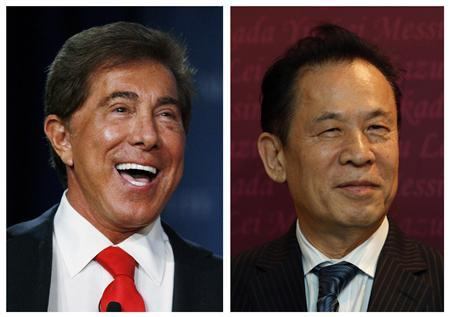 A combination photograph from file photos show Wynn Resorts CEO Steve Wynn (L) and Universal Entertainment Corporation CEO Kazuo Okada. REUTERS/Staff/Files
