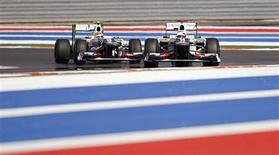 Sauber Formula One driver Kamui Kobayashi (R) of Japan drives ahead of team mate Sergio Perez of Mexico during the second practice session of the U.S. F1 Grand Prix at the Circuit of the Americas in Austin, Texas November 16, 2012. REUTERS/Mike Stone