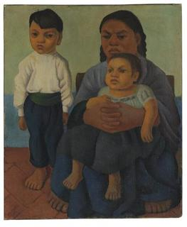 An undated handout photo shows ''Madre e Hijos'' (Mother with Children) by the late Mexican painter Diego Rivera, to be auctioned at Christie's on November 20, 2012. Painted in 1926, it depicts a barefoot boy standing next to his sister, who is ensconced in their mother's lap. Christie's estimates it to fetch about $800,000. REUTERS/Christie's Images Limited 2012/Handout