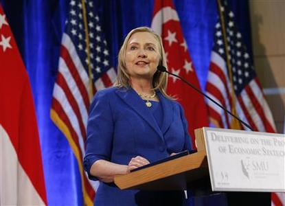 U.S. Secretary of State Hillary Clinton gives a speech at the Singapore Management University in Singapore November 17, 2012. REUTERS/Edgar Su