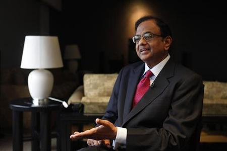 Finance Minister P. Chidambaram speaks during an interview with Reuters at a hotel during his visit for the G20 meeting in Mexico City November 4, 2012. REUTERS/Edgard Garrido