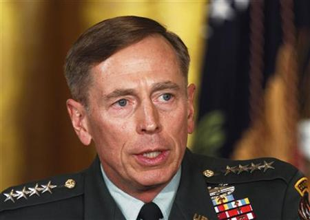 Then U.S. Army Gen. David Petraeus talks at an event in the East Room of the White House in this April 28, 2011 file photo during U.S. President Barack Obama's announcement that then CIA Director Leon Panetta would be nominated as Secretary of Defense. REUTERS/Larry Downing/Files
