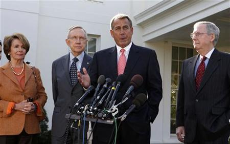 Speaker of the House John Boehner speaks to the press after a bipartisan meeting with U.S. President Barack Obama to discuss the economy in the Roosevelt Room of the White House November 16, 2012. Also pictured are (L-R) House Minority Leader Nancy Pelosi, Senate Majority Leader Harry Reid and Senate Minority Leader Mitch McConnell. REUTERS/Larry Downing