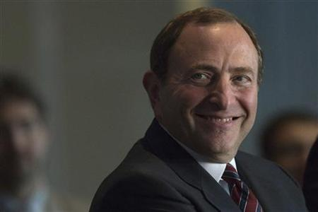 NHL Commissioner Gary Bettman smiles during the announcement that the NHL's New York Islanders will move to the Barclays Center in Brooklyn from 2015 in New York October 24, 2012. REUTERS/Andrew Kelly