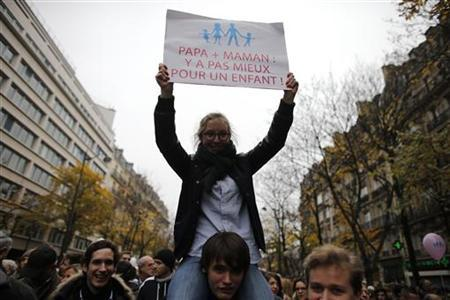 A protestor holds a placard during a demonstration against a draft law to allow same-sex marriage in Paris November 17, 2012. REUTERS/Christian Hartmann