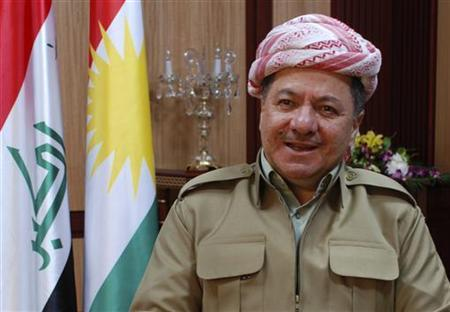 Kurdish Regional Government President Masoud Barzani speaks during an interview with Reuters in Arbil, about 350 km (220 miles) north of Baghdad January 4, 2012. REUTERS/Stringer/Files