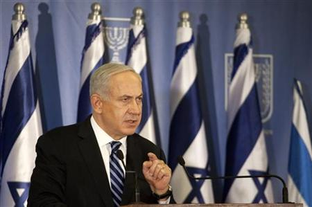 Israel's Prime Minister Benjamin Netanyahu gestures as he delivers a statement to the foreign media in Tel Aviv November 15, 2012. A Hamas rocket killed three Israelis north of the Gaza Strip on Thursday, drawing the first blood from Israel as the Palestinian death toll rose to 15 in a military showdown lurching closer to all-out war and an invasion of the enclave. REUTERS/Stringer (ISRAEL - Tags: POLITICS CIVIL UNREST)
