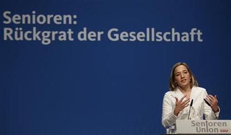 German Family Minister Kristina Schroeder attends a senior delegates meeting of the conservative Christian Democratic Union (CDU) in the western city of Recklinghausen, September 3, 2012. German Labour Minister Ursula von der Leyen said today's low income earners may face poverty upon retiring. REUTERS/Ina Fassbender (GERMANY - Tags: POLITICS)