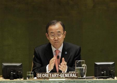 U.N. Secretary General Ban Ki-moon opens the high-level meeting on countering nuclear terrorism on the sidelines of the 67th United Nations General Assembly at the U.N. headquarters in New York September 28, 2012. REUTERS/Brendan McDermid/Files