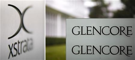 Combination of file photos showing the logo of Glencore in front of the company's headquarters in the Swiss town of Baar (R) September 7, 2012, and the logo of Swiss mining company Xstrata at their headquaters in Zug March 26, 2008. REUTERS/Michael Buholzer/Files