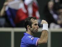 Czech Republic's Radek Stepanek reacts during their Davis Cup tennis tournament final match against Spain's Nicolas Almagro in Prague November 18, 2012. REUTERS/David W Cerny