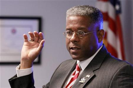 Republican U.S. Rep. Allen West speaks at a campaign stop with guests at SCORE South Palm Beach, a resource partner to the U.S. Small Business Administration, in Boca Raton, Florida October 18, 2012. West faces Democrat Patrick Murphy in a hotly contested election next month. REUTERS/Joe Skipper