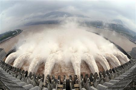 Water is discharged from the Three Gorges Dam to lower the level in its reservoir in Yichang, Hubei province in this July 20, 2010 file photo. The number of new hydropower projects in China could surge as the country's populist premier Wen Jiabao retires and a new leadership team races to meet ambitious 2020 energy goals. More dams could be a tough sell as an increasingly affluent public pushes back against a ''growth at all costs'' economic model. As China's new leaders consider how to power expansion, however, they have little choice but to push ahead with hydropower given that alternatives like coal or nuclear fueled power may be even less palatable to the population. REUTERS/Stringer/Files