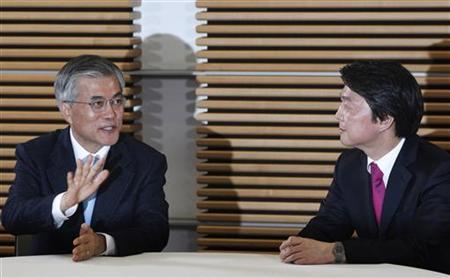Moon Jae-in (L), presidential candidate of the main opposition Democratic United Party, speaks with Ahn Cheol-soo, an independent presidential candidate, during a photo call before their meeting at the Kim Koo Museum in Seoul November 6, 2012. REUTERS/Kim Hong-Ji