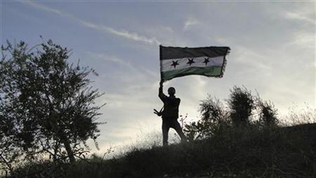 A Free Syrian Army fighter holds an opposition flag after defeating fighters from the Kurdistan Workers Party (PKK) from Jabal Boursayia near Aleppo November 15, 2012. REUTERS/Mahmoud Hassano/Shaam News Network/Handout