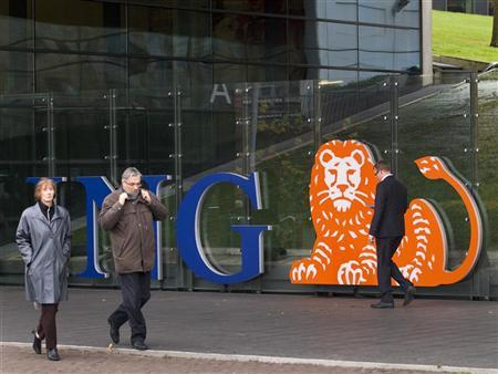 Employees of ING group walk in front of their office during their lunch break in Amsterdam November 7, 2012. REUTERS/Michael Kooren