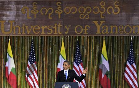 U.S. President Barack Obama gives a speech at the convocation hall in the University of Yangon November 19, 2012. President Obama became the first serving U.S. president to visit Myanmar on Monday, trying during a whirlwind six-hour trip to strike a balance between praising the government's progress in shaking off military rule and pressing for more reform. REUTERS/Minzayar