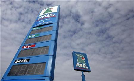 Signs of Pap Oil gas station are pictured in Prague October 16, 2012. REUTERS/David W Cerny