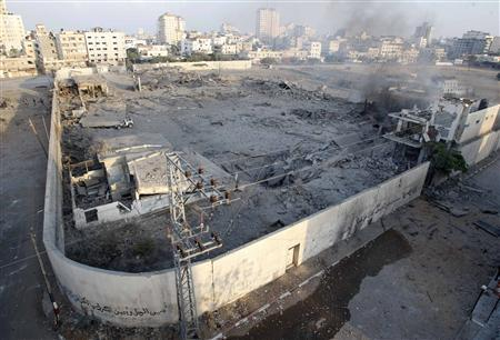A general view of a Hamas destroyed security site is seen after an Israeli air strike in Gaza City November 19, 2012. REUTERS/Ahmed Zakot