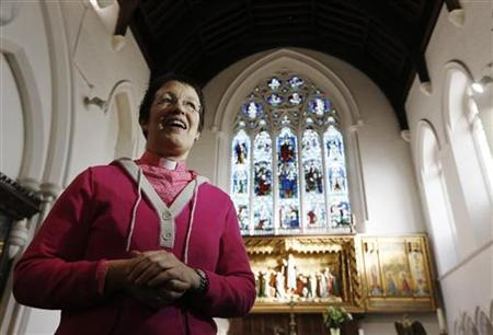 The Reverend Jane Morris speaks during an interview at St Gabriels Church in Cricklewood, north London November 18, 2012. The ruling body of the Church of England, the General Synod, will vote during a meeting on Tuesday to decide on a controversial issue - if women can be consecrated as bishops. REUTERS/Luke MacGregor