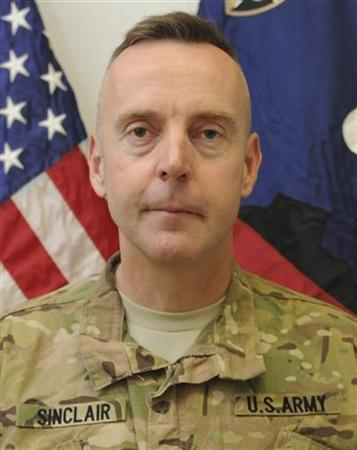 Brigadier General Jeffrey Sinclair, a U.S. Army general facing charges of forcible sodomy and engaging in inappropriate relationships stemming from allegations that got him sent home from Afghanistan this year, is seen in this handout photo received September 26, 2012. REUTERS/U.S. Army/Handout