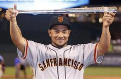 National League All-Star Melky Cabrera of the San Francisco Giants holds the MVP trophy after the National defeated the American League in Major League Baseball's All-Star Game in Kansas City, Missouri July 10, 2012. REUTERS/Jeff Haynes